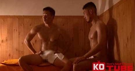 2 Japanese men cruise each other in a steam room. While their genitals are rather heavily masked, I like how the lighting brings out the scene when the bottom cums when riding the top.