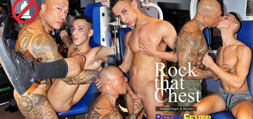 Hot Asian muscleman Damian Dragon and tight twink Des Irez are still training in the nicely-equipped workout area of Las Vegas' Hawk's Gym, with Damian flexing and pumping his tatted pecs on the incline bench.